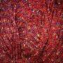 เชือกร่ม ถักกระเป๋า สีแดง ดิ้นรุ้ง 7 สี